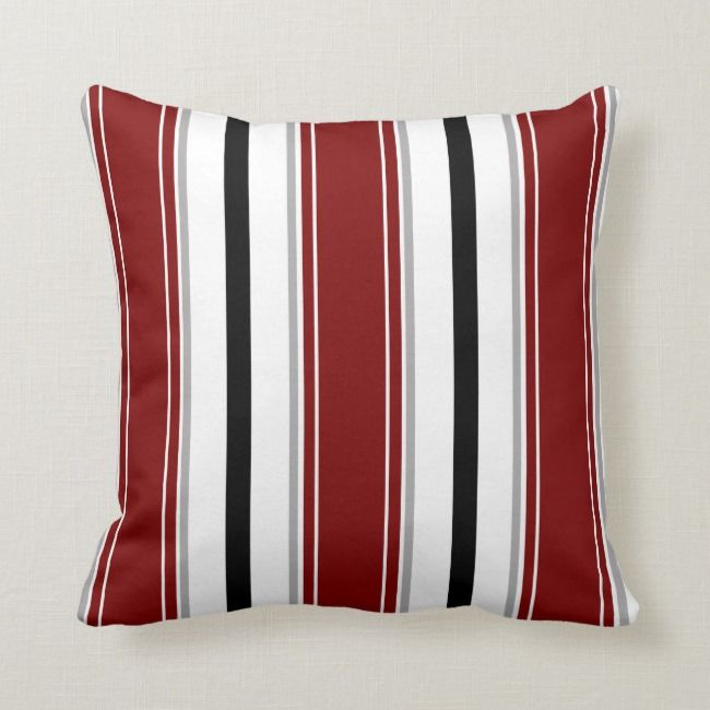 Black Dark Red Gray White Vertical Stripes Pattern Throw Pillow Zazzle Com Patterned Throw Pillows Throw Pillows Stripes Pattern