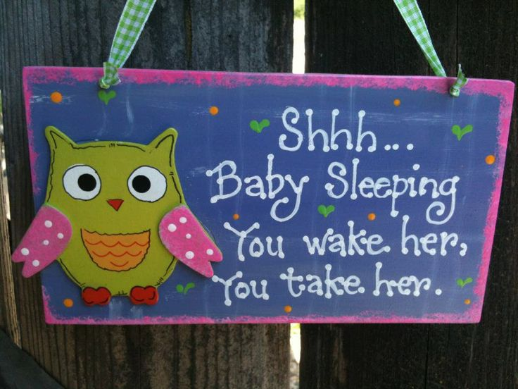 Owl Baby Sleeping sign Nursery room decoration handmade wooden plaque bird. $6.50, via Etsy.