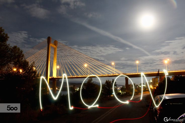 Light painting under the moon