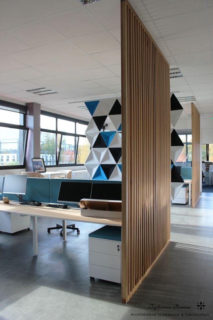 Bureau Open Space Entreprise Separation Ajouree Bois Moderne