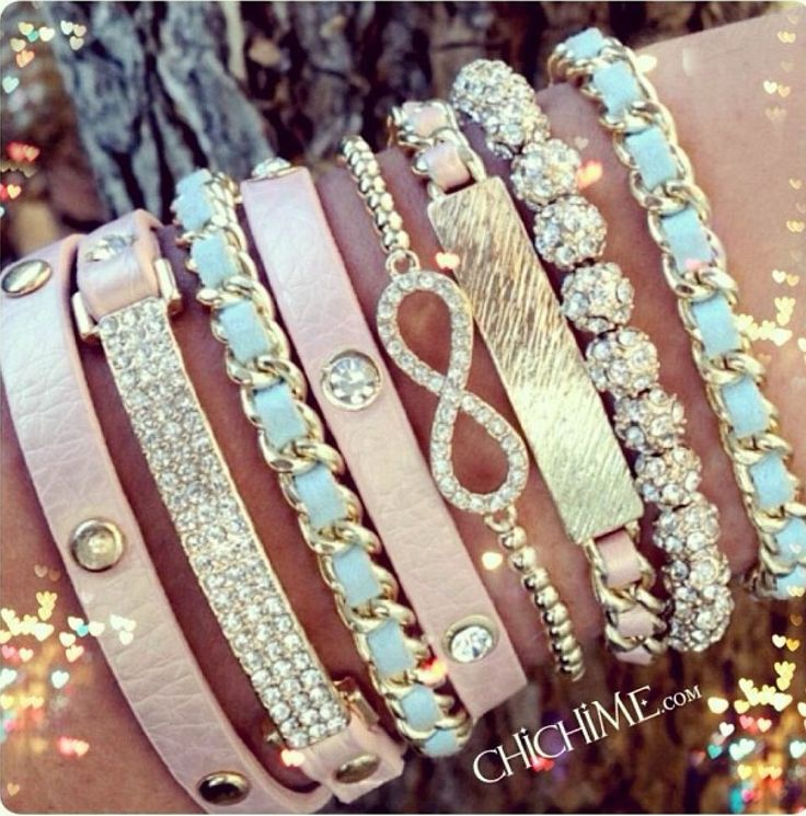 Love layered bracelets... Edgy but girly