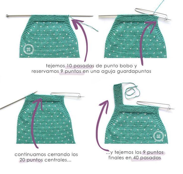 """Peto de punto a dos agujas """"Topitos"""" -Patrón y tutorial gratis"""