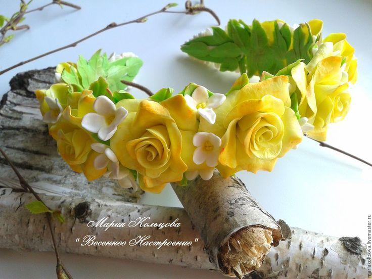 Купить Обруч с жёлтыми розами и белой сиренью из полимерной глины. - желтые розы, белая сирень