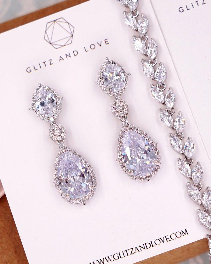 White Gold Jewelry | Earrings Bracelet | Bridal Wedding Bridesmaids
