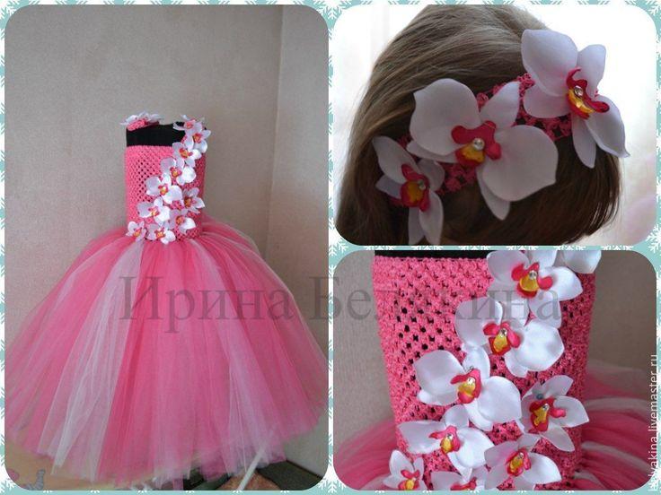 """Купить Платье туту и повязка на волосы """"Орхидея"""" - розовый, орхидея, орхидея ручной работы, tutu"""