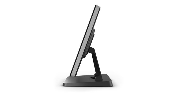 Elo 22-inch I-Series touchscreen display mounted on a desk stand. Commercial-grade, secure and built for public use. Modern style and durability with edge-to-edge glass design. Visit EloTouch.com to learn more.