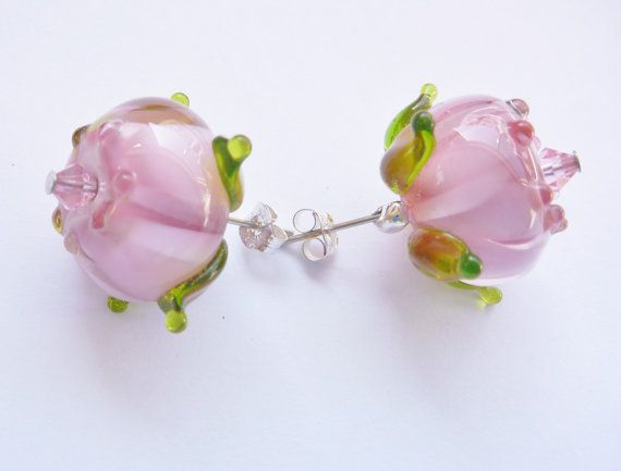 Lampwork Glass Earrings  Pink rose with green by ChrysArtGlass