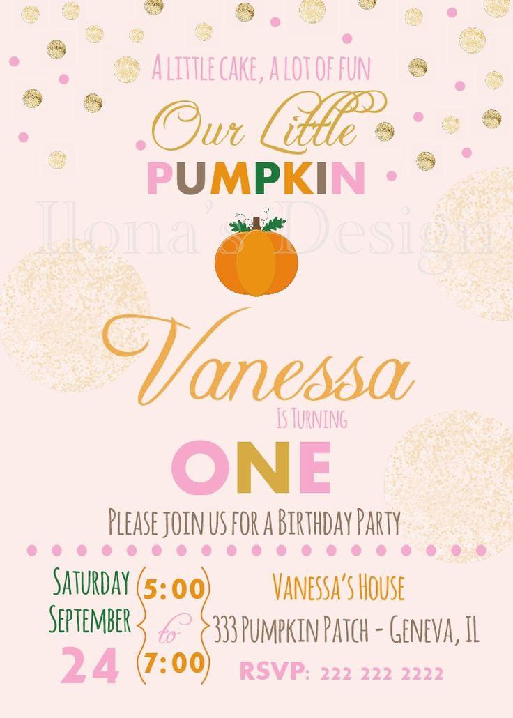 Pumpkin First Birthday Invitation - Pumpkin Invitation - Fall Birthday…