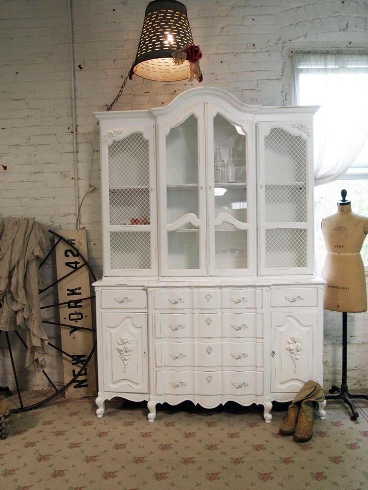 painted cottage chic shabby white romantic china cabinet cc via etsy