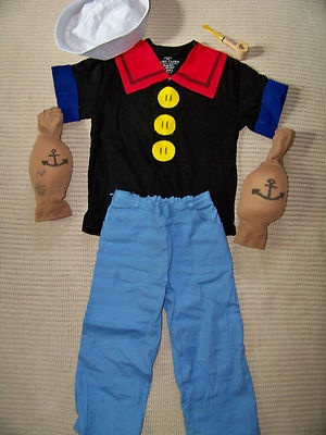 Handmade homemade Popeye Halloween costume boys 6X/7