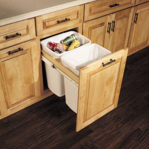 Base Top Mount Wastebasket Double   For Trash U0026 Recycling!