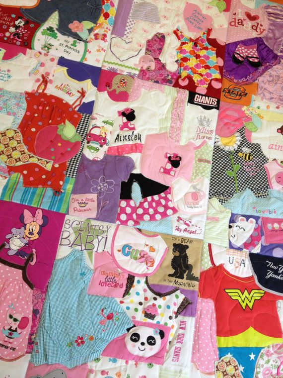 Memory Quilt Custom Made with Baby Clothes 1st Year by 22HANDS, $150.00
