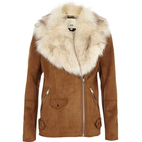 River Island Tan fur trim aviator jacket ($150) ❤ liked on Polyvore featuring outerwear, jackets, coats / jackets, tan, women, faux suede jacket, long sleeve jacket, fur trim jacket, brown jacket and aviator jacket