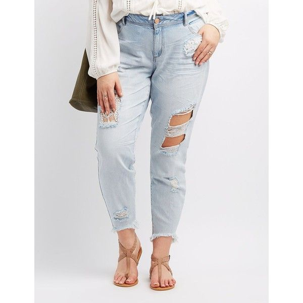 Refuge Skinny Crochet Destroyed Jeans ($15) ❤ liked on Polyvore featuring plus size women's fashion, plus size clothing, plus size jeans, indigo, ripped denim jeans, plus size ripped skinny jeans, plus size ripped jeans, distressed skinny jeans and plus size distressed skinny jeans