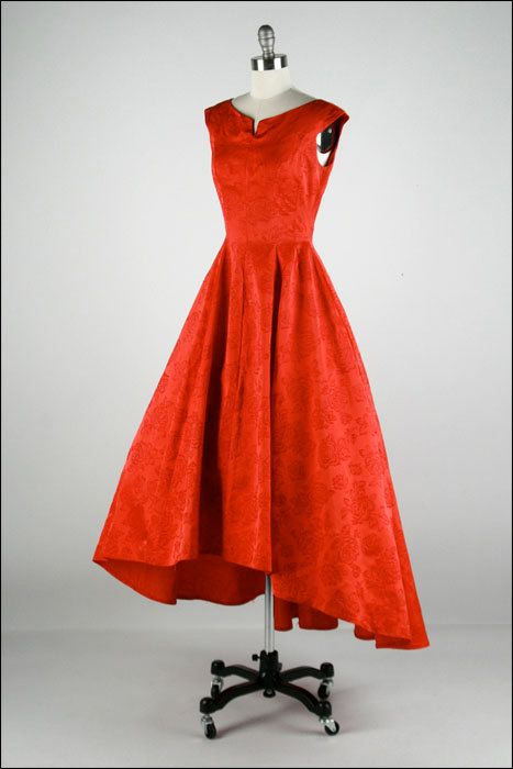 Vintage 1950s Red Satin, Flocked Flowers, Sleeveless,Asymmetrical Fishtail Hem  Full Skirt Dress