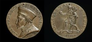Florentine, 15th century<br /><i>Cosimo de' Medici (1389–1464), Pater Patriae</i> [obverse]; <i>Florence Holding an Orb and Triple Olive Branch</i> [reverse], c. 1465/69<br />Bronze, diameter 7.8 cm (3 1/16 in.)<br />National Gallery of Art, Washington, DC, Samuel H. Kress Collection<br />Image courtesy of the Board of Trustees, National Gallery of Art