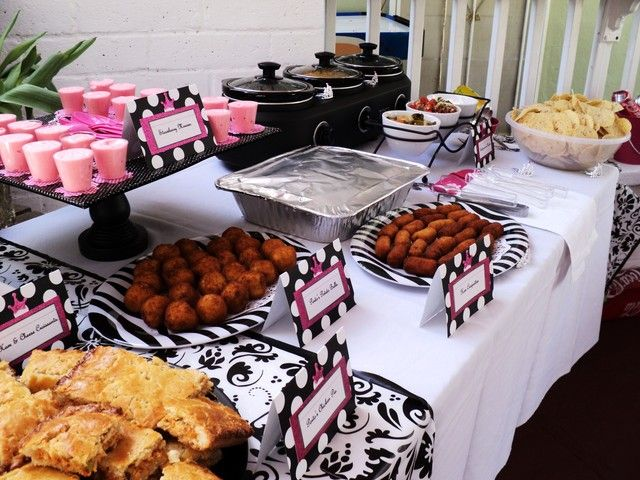 Hot pink black and white baby shower party ideas food - Black and white food ideas ...
