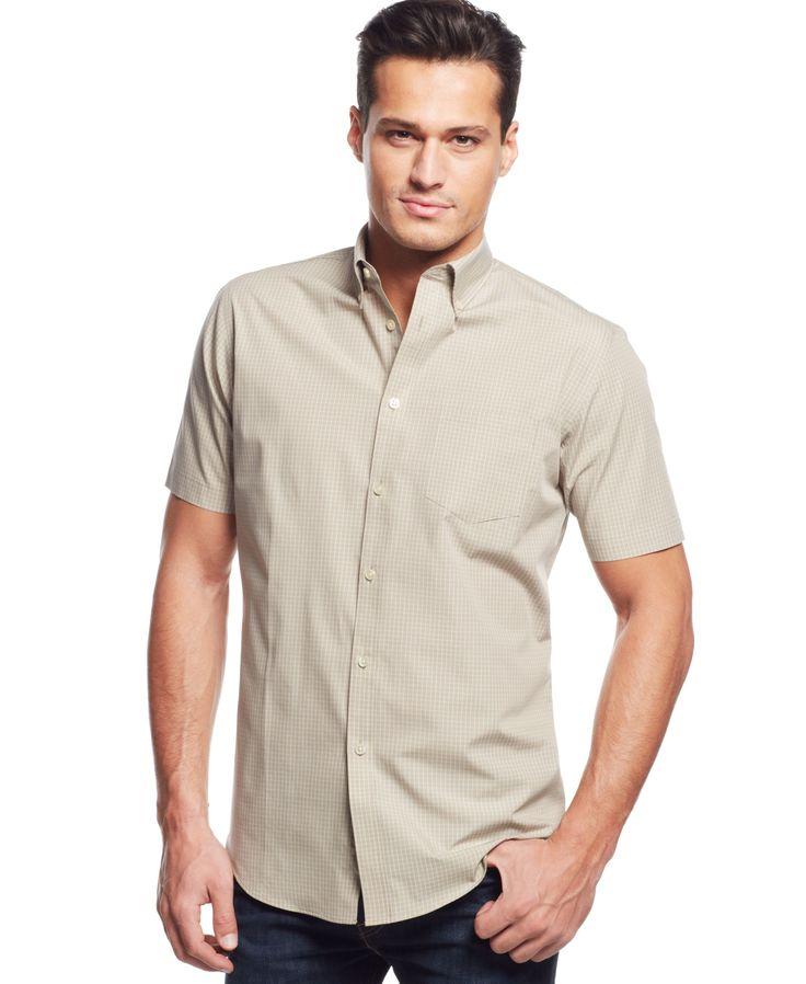 Van heusen no iron checked short sleeve shirt products for Van heusen iron free shirts