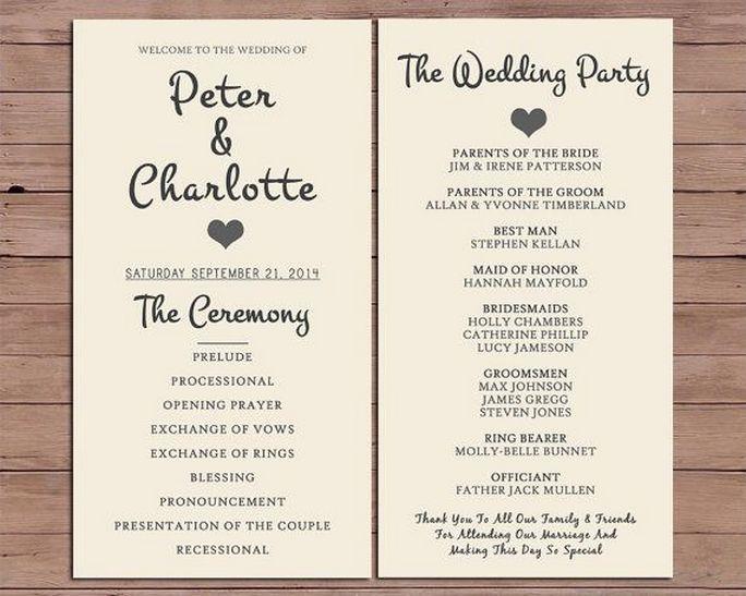 Simple Wedding Reception Program Sample Ideas 22 Order Of Wedding Ceremony Wedding Order Of Service Wedding Ceremony Programs Template