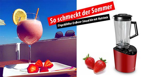 Erfrischend gesund: Eisgekühlter Erdbeer-Smoothie - http://bit.ly/1fjHbUU