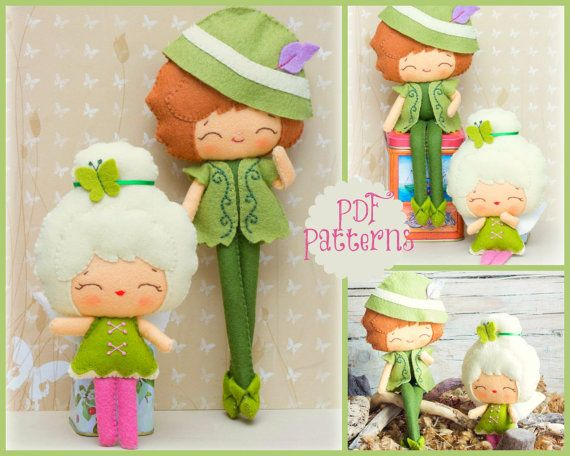 PDF. Peter Pan and Tinkerbell patterns. Fairy tale pattern. Plush Doll Pattern, Softie Pattern, Soft felt Toy Pattern.