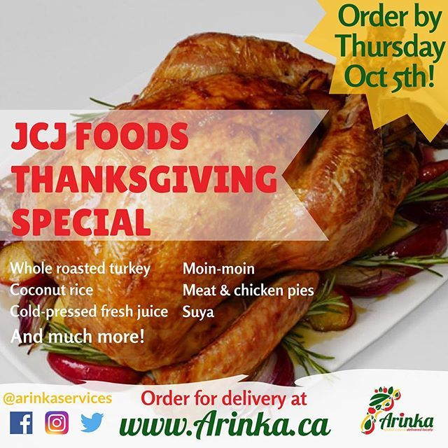Spend more time relaxing with family and friends this Thanksgiving weekend by ordering JCJ Foods' Thanksgiving Special! With packages featuring whole roasted turkey, coconut rice, moin-moin, fresh cold-pressed juices, and much more there's sure to be something for everyone. .  Use the link in our bio to order your Thanksgiving dinner by Thursday October 5th for delivery on Thanksgiving Sunday!