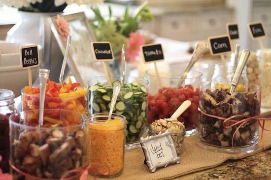 Cute way to display a salad bar at a party.