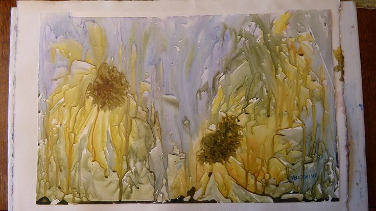 Sunflower watercolor on Yupo paper