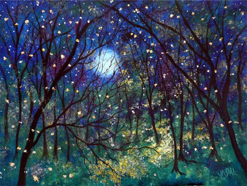 Fireflies under springtime moon lustre print by Jean Vadal Smith via Etsy