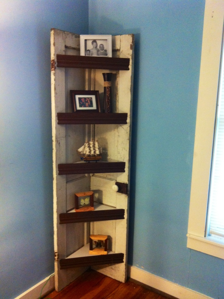 Corner Shelf Made From An Old Wooden Door Office Ideas