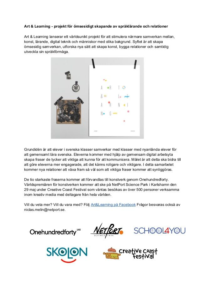 Art & Learning - projekt för ömsesidigt skapande av språklärande och relationer