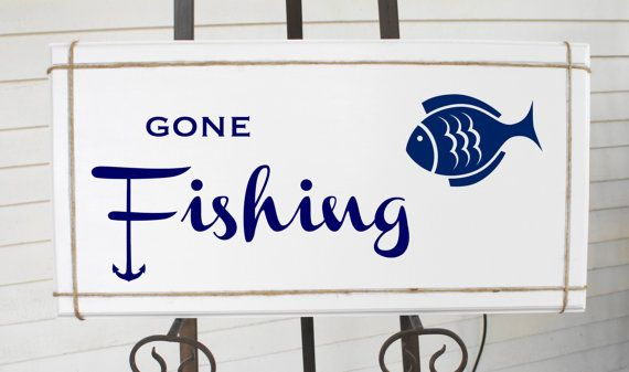Gone Fishing Sign with anchor and Fish White by Frameyourstory, 39.95