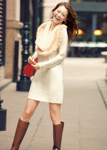 Fashion to Heart - white sweater dress with brown boots # Japanese model  ♥ GG's tiny times ♥