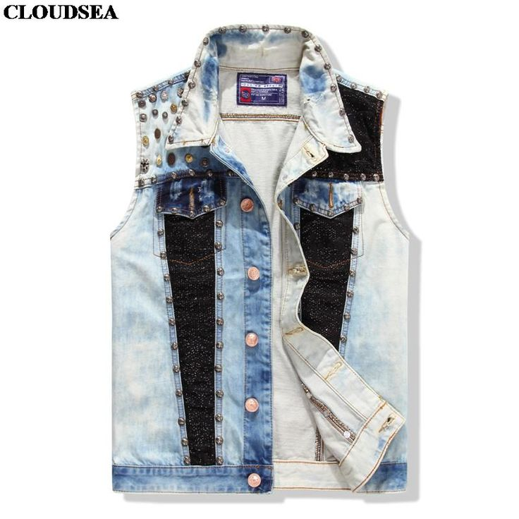 Washed Denim Vest Hip-Hop Punk Rock Men Singers Rivet Studded Jean Vest Stylish Waistcoat Sleeveless Denim Jacket //Price: $US $38.99 & FREE Shipping //