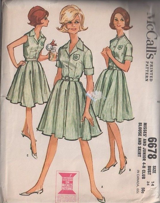 MOMSPatterns Vintage Sewing Patterns - McCall's 6678 Vintage 60's Sewing Pattern OFFICIAL 4H 4-H Club Button Front Blouse, Pleated Flared Sk...