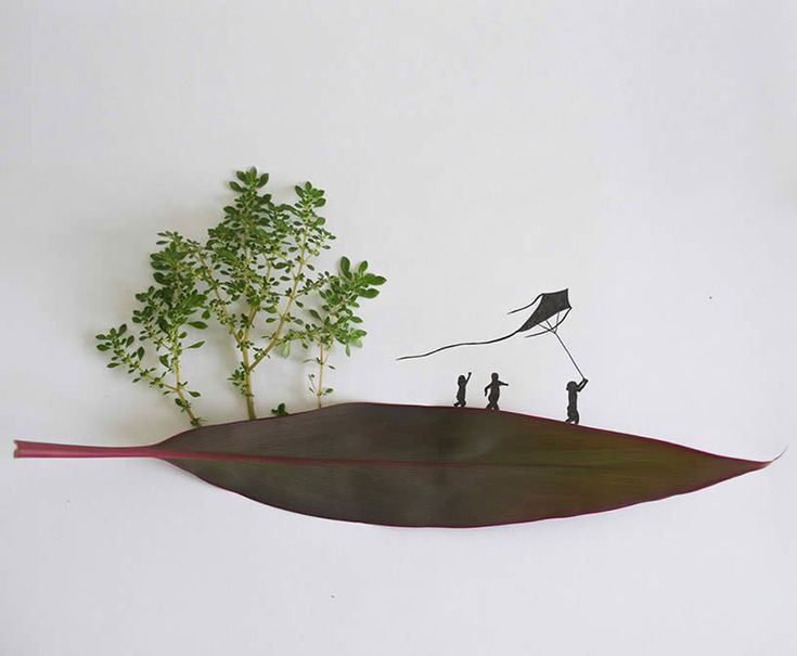 Leaf art: What a wonderful childhood, kids playing with kite by Tang Chiew Ling