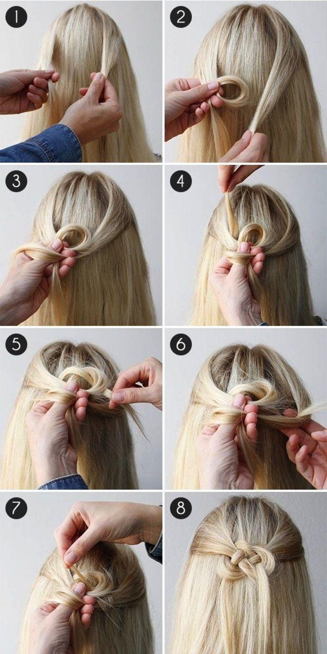 二つに分けた髪を、輪を作って通していきます。仕組みは簡単なのに、手の込んだヘアスタイルに見えますね!