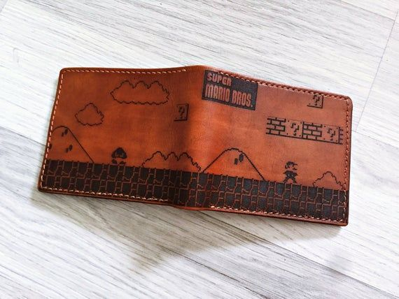 Super Mario Retro Wallet Vintage Leather Handmade Men Wallet Forever Young G In 2020 Personalised Valentines Gifts For Him Personalized Valentine Gifts Boyfriend Gifts