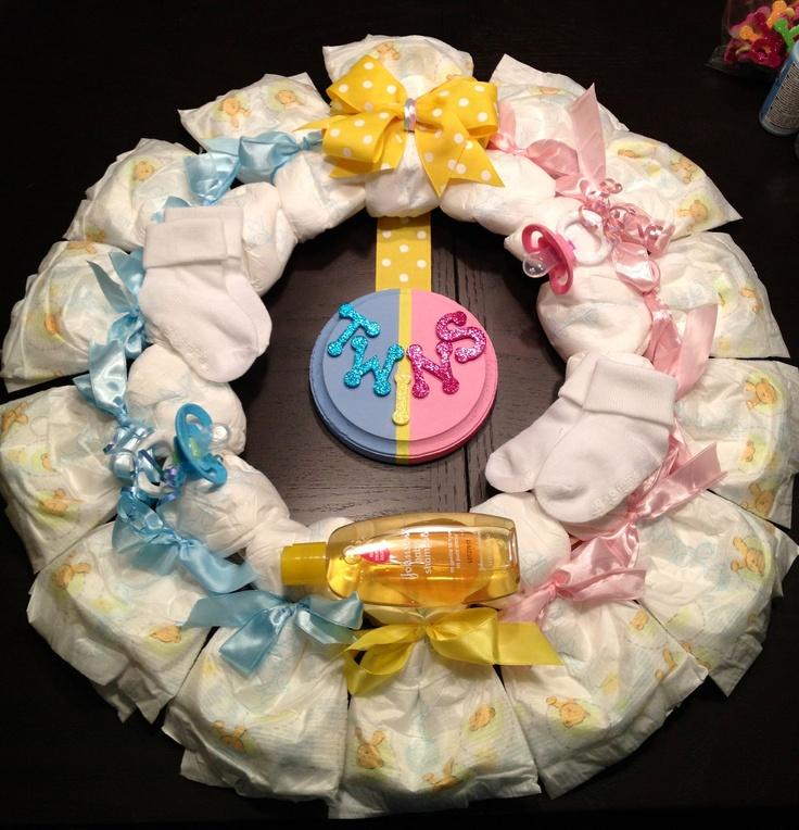 TWINS DIAPER WREATH Baby Shower Gift Custom Decoration