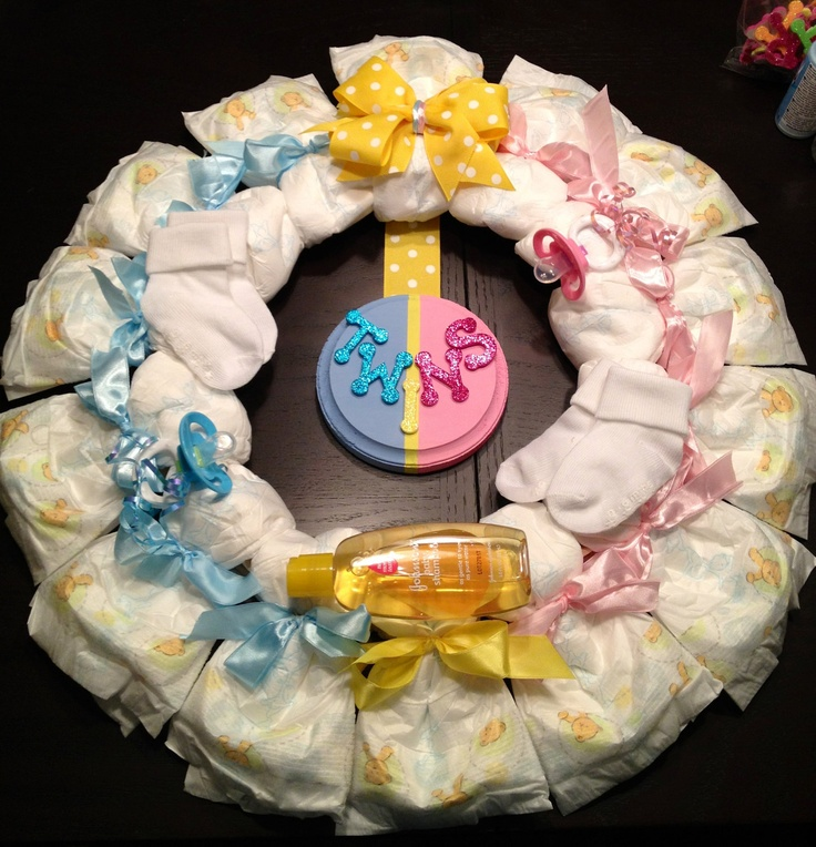 Twins diaper wreath baby shower gift custom decoration for Baby shower decoration ideas for twin boys