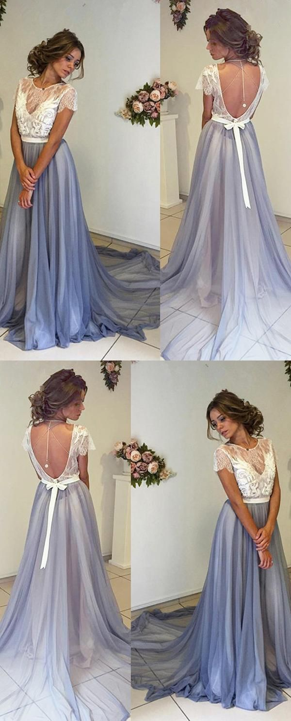 New arrival white lace cap sleeves backless prom dressescharming