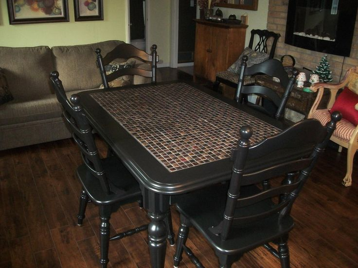 Refinished Tile Top Table And 4 Chairs
