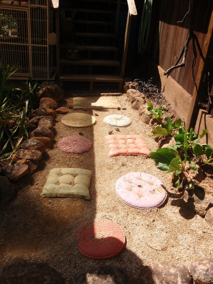 Best Stepping Stones   Dye Cast Concrete Stones Made In Molds From Old  Upholstered Cushions