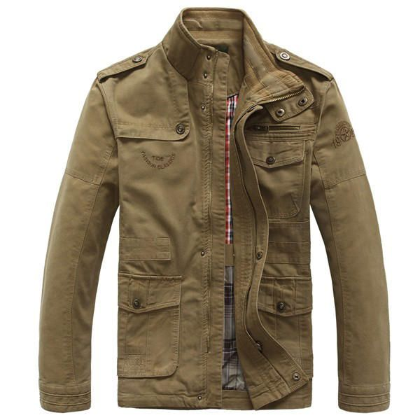 Big Size S-5XL Men Outdoor Autumn Cotton Blend Zipper Warm Coat Jacket Outwear at Banggood
