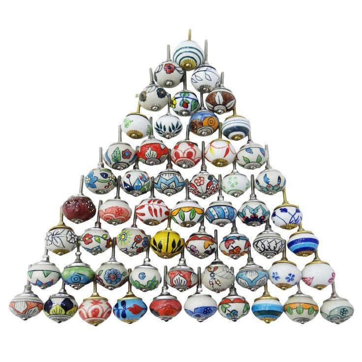 20 varios colores Multicolor Cerámica cajones pomos puerta tiradores de armario pomos de mezcla de indio: Amazon.es: Bricolaje y herramientas