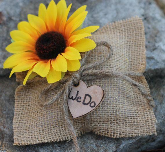 "Ring Bearer Pillow Rustic Wedding, Sunflower Burlap Wedding Pillow, Personalized ""We Do"", Shabby Chic Weddings"