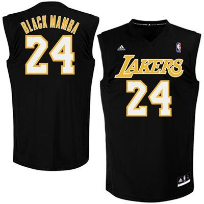 9f4c8a4ebc6 ... adidas Kobe Bryant Los Angeles Lakers Black Mamba Nickname Replica  Jersey - Black ...