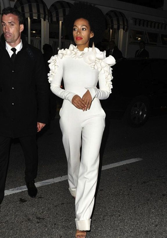 I Love this girls style. #teamSolange  Solange Knowles's Cannes Stephane Rolland Spring 2013 White Ruffled Jumpsuit