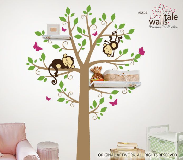 Large tree wall decal with monkeys and butterflies for nursery, suitable for shelves - Wall's Tale Wall Decals - Turkey