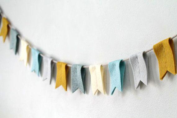 Modern Bunting Banner in Aqua and Mustard // Neutral Nursery // Woodland Stream // Playroom Decor // Handmade by OrdinaryMommy on Etsy on Etsy, $48.00